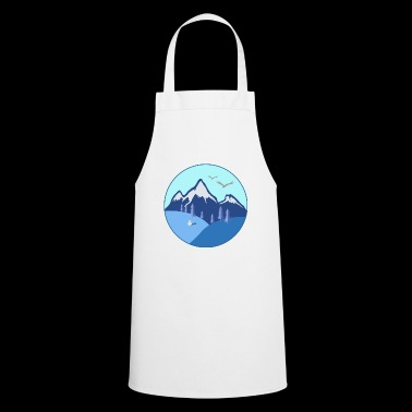 Winter mountains gift firs eagle snowman - Cooking Apron