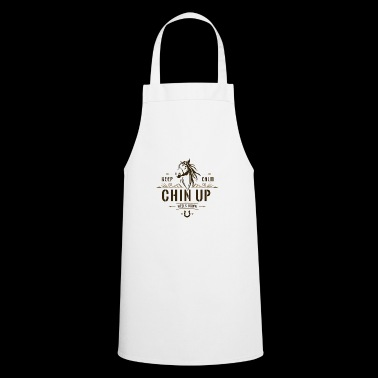 Keep calm, head up and heels down. - Cooking Apron