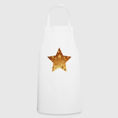 Star with asterisks - gold with gold - Cooking Apron