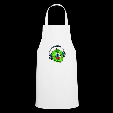 monster green headphones music mascot fur zyk - Cooking Apron
