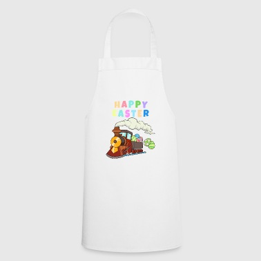Happy Easter Train Railway with colorful easter eggs - Cooking Apron