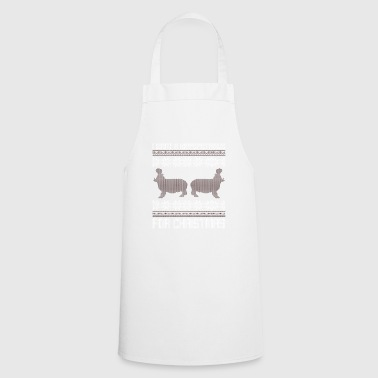 Ugly Christmas Sweater Hippopotamus for Christmas - Cooking Apron