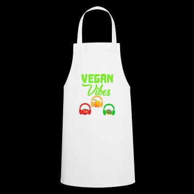 Vegan vibes tomato, peppers, broccoli headphones - Cooking Apron