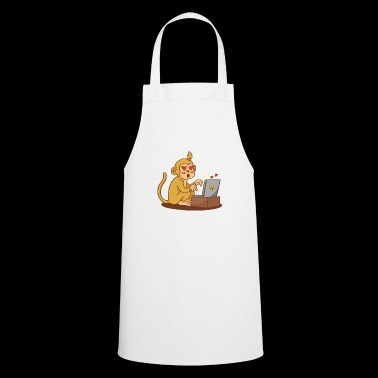 brown monkey computer heart gift idea - Cooking Apron