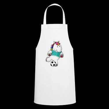 Soccer cartoon unicorn - Cooking Apron