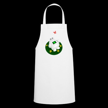 Cute robot with butterfly on meadow - Cooking Apron
