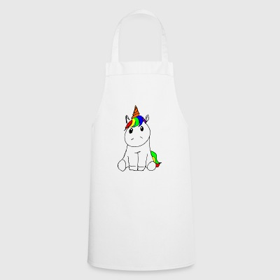 Sitting unicorn drawing cuddly cute colorful - Cooking Apron