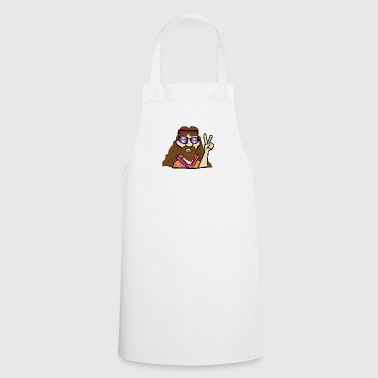 Hippy head with peace sign - Cooking Apron