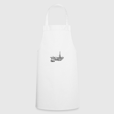 Paris - city view Sketch with Eiffel Tower - Cooking Apron