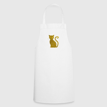 Golden Cat - Golden Cat Gold Glitter Glitter - Cooking Apron