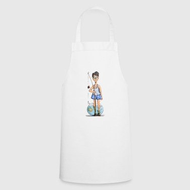Boy as angler in front of aquarium - Cooking Apron