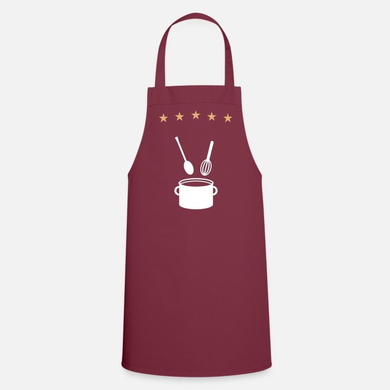 Cook Aprons - 5 star pot - cook - V2 - Apron bordeaux