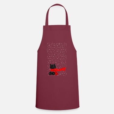 Kitty loves Snow (black) - Cooking Apron