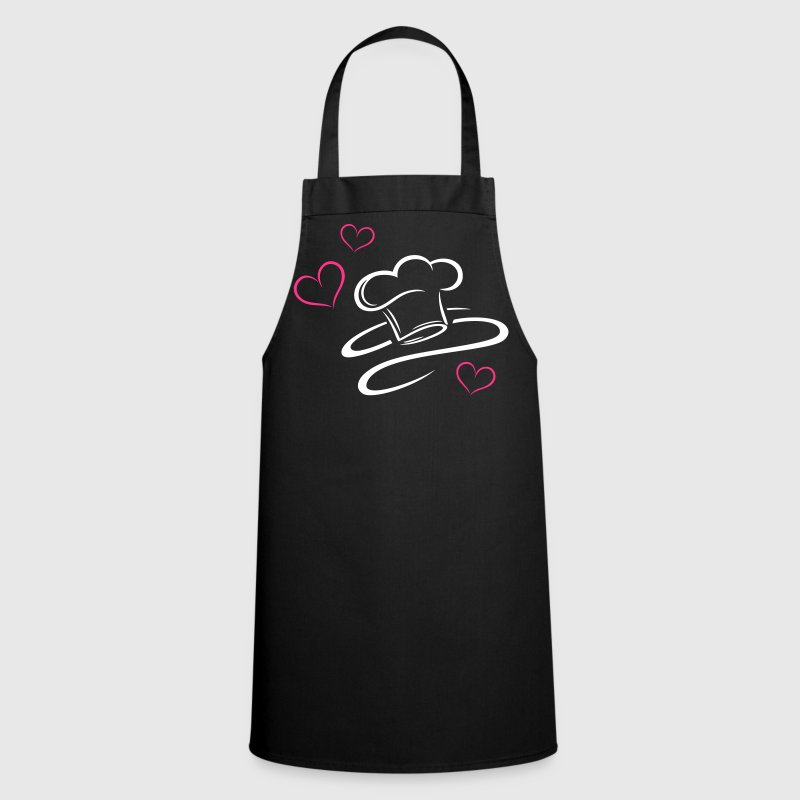 Cook, logo, chef hat with three hearts. - Cooking Apron