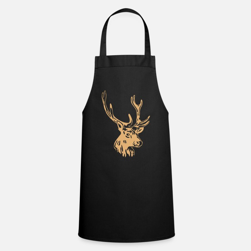 Chasseur Tabliers - deer - antler - hunting - hunter - Tablier noir