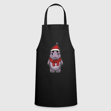 Cold Animal child hippopotamus Christmas winter gift - Cooking Apron