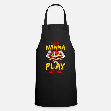 CLOWN | Evil Ax Blood Horror Mask Halloween Evil - Apron