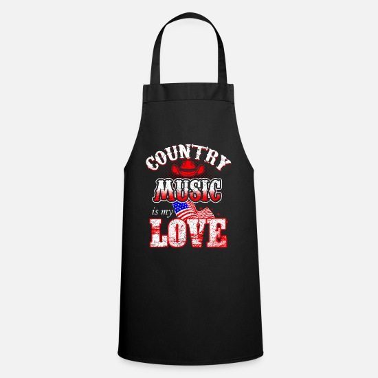 Country Aprons - Country music western rodeo cowboy USA - Apron black