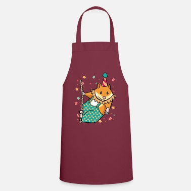Cute golden hamster climbing in a clown costume - Apron
