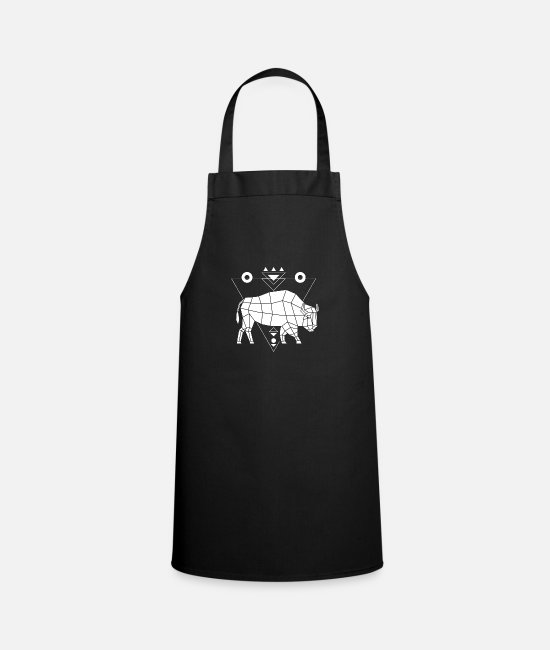 Stag Aprons - Bull Polygon Geometry Taurus Low Poly Wild Animal - Apron black