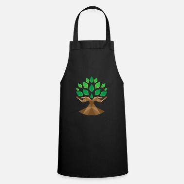 Sheet Tree green nature gift idea leaves hands human - Cooking Apron