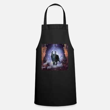 Awesome wolf in the dark night - Apron