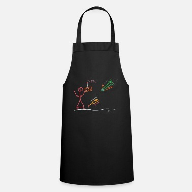 Stick Figure Model maker woman stick figure airplane Heli - Cooking Apron