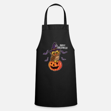 Halloween Cute Owl Witch Hat Pumpkin Happy Halloween Gift - Cooking Apron