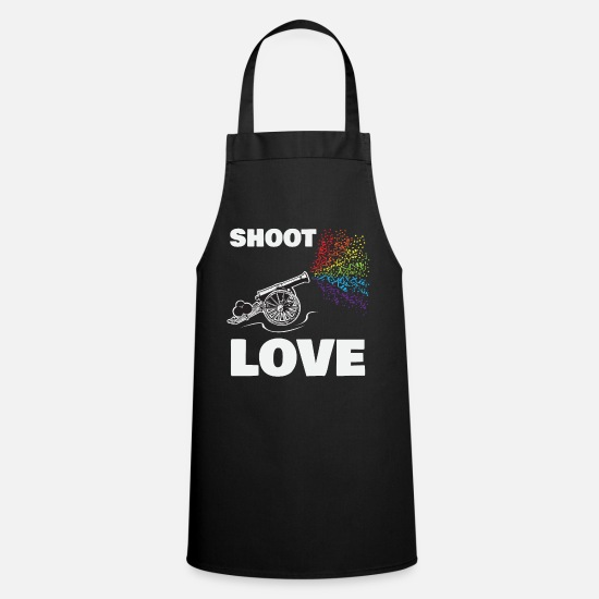 Love Aprons - SHOOT LOVE - THE RAINBOW CANNON - PRIDE CANNON - Apron black