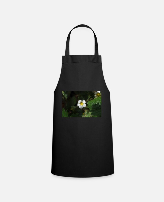 Garden Aprons - Strawberry plant, flower - Apron black