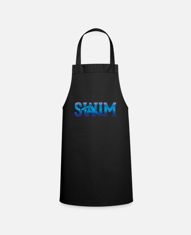 Outdoor Swimming Pool Aprons - Outline of a swimmer - swimming - Apron black