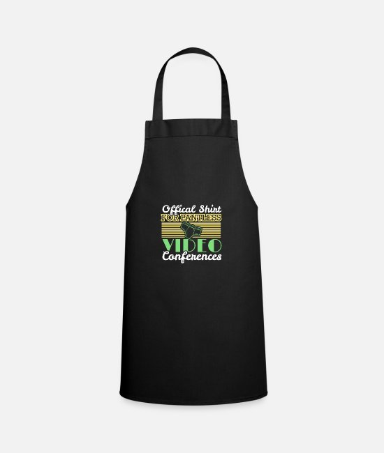Video Conference Aprons - Video conference office humor work colleagues - Apron black