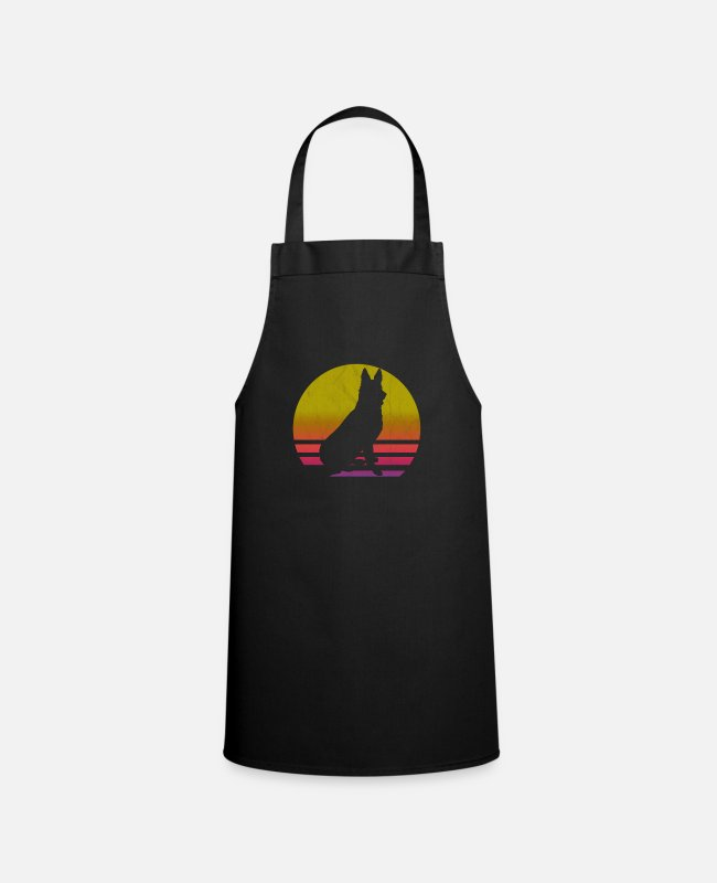 Dog Owner Aprons - German shepherd retro vintage - Apron black