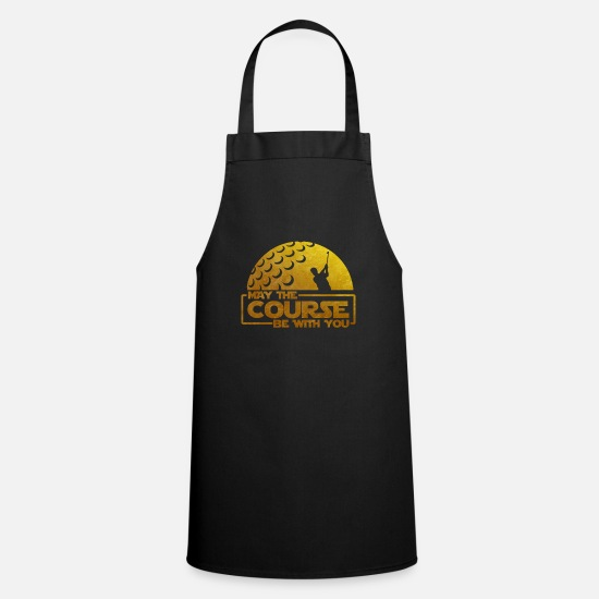 May Aprons - May The Course Be With You - Golfers Gift Idea - Apron black