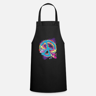 Woodstock Peace Hippie Flower Power 60s 68 Peace Love - Cooking Apron