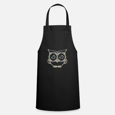 Neon Psychedelic Owl Gift | Trippy Retro 3D Effect - Cooking Apron