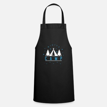 Winter Winter camp tent mountains valley forest gift - Apron