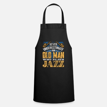 Heavy The old man plays jazz music - Cooking Apron