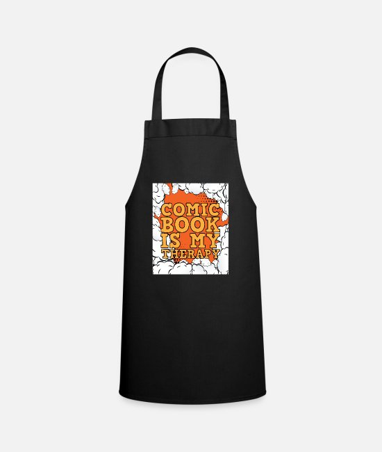 Punch Aprons - Comic book is my therapy - Apron black