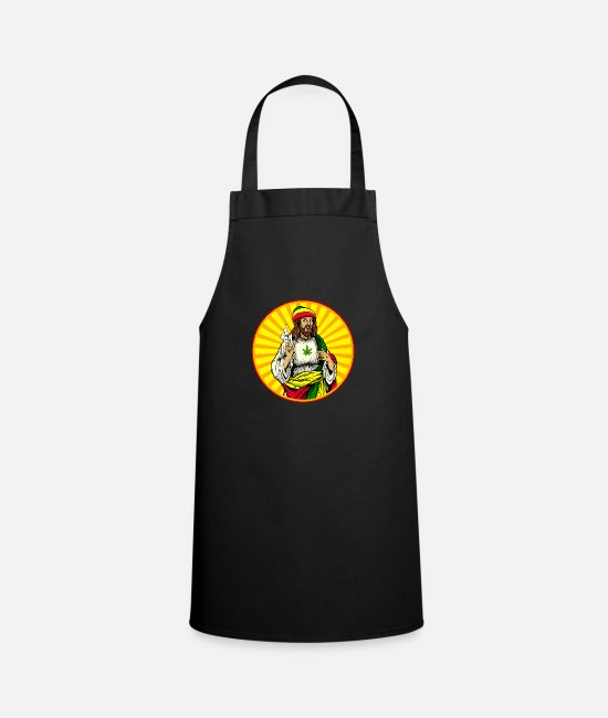 Hemp Aprons - Weed Smoking Jesus Christ - Apron black