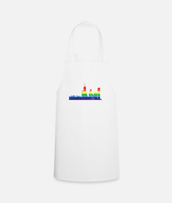 Gay Pride Aprons - LGBT Flag Rainbow Shirt LGBT Houston City Pride - Apron white