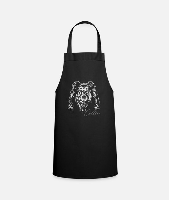 Sweet Dog Aprons - Long hair COLLIE dogs dog Wilsigns dog portrait - Apron black