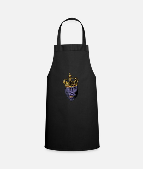Easter Aprons - Gorilla king monkey king with crown - Apron black