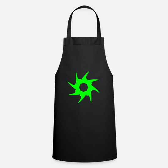 Gift Idea Aprons - Circle with spines. Round in green - Apron black