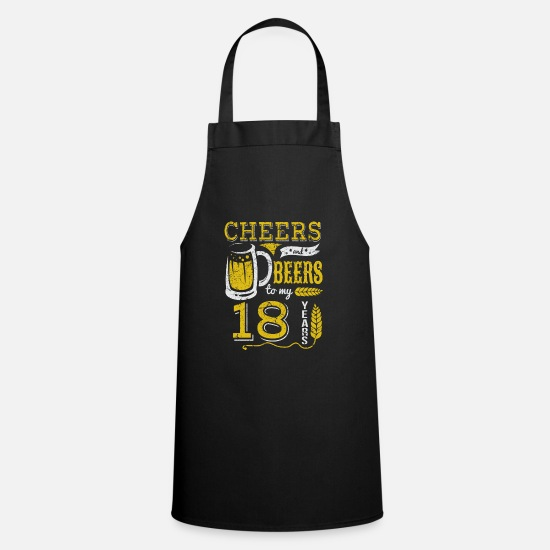 Birthday Aprons - 18 years / years: Cheers and Beers gift - Apron black