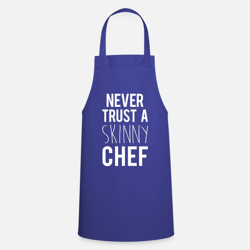 Quotes Aprons - A Skinny Chef Funny Quote - Apron royal blue