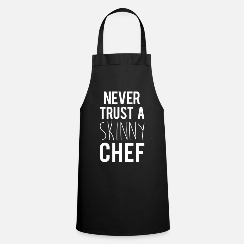 Quotes Aprons - A Skinny Chef Funny Quote - Apron black
