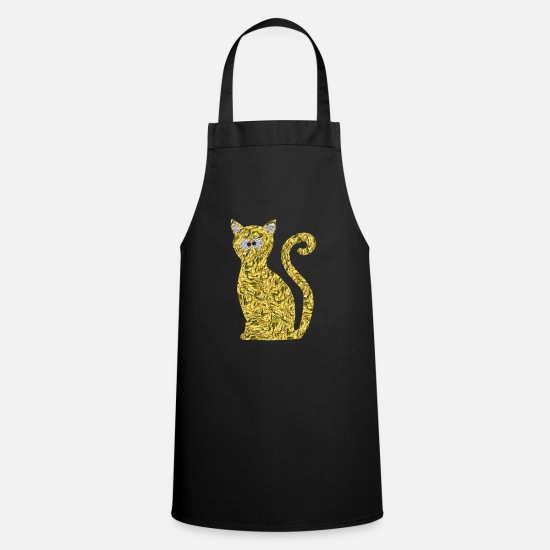 Gold Aprons - Golden cat with silver eyes and silver ears - Apron black
