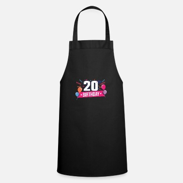 Birthday Party 20th Birthday Party Balloons Banner Gift Idea - Apron