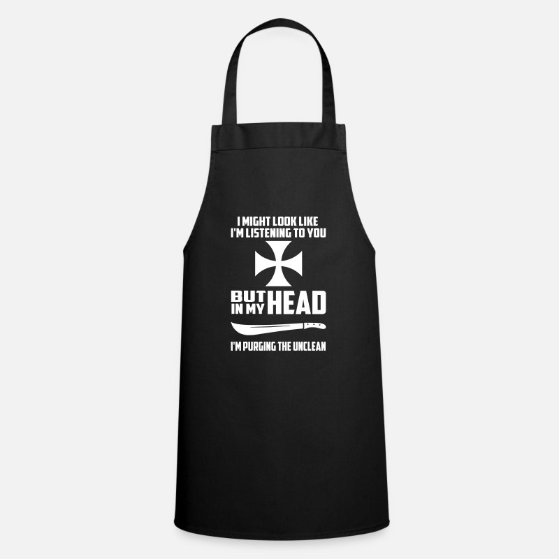 Funny Aprons - purging the unclean funny quote - Apron black